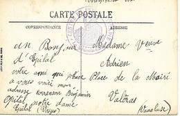 88-cachet Hôpital -Centre De Psycothérapie (texte : Hôpital Notre-Dame) Sur CP En 14/18 - Poststempel (Briefe)