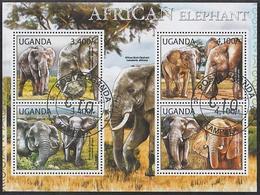 Elephant Elephants Animals Uganda M/S Of 4 Stamps 2012 - Elephants