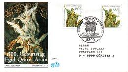 "BRD Schmuck-FDC ""300.Geburtstag Von Egid Quirin Asam"" Mi. 2x 1624 ESSt 13.8.1992 BONN 1 - [7] Federal Republic"