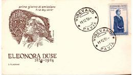 Fdc Filagrano: ELEONORA DUSE 1958;  No Viaggiata; A_Vigevano - 6. 1946-.. Republic