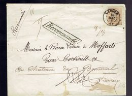 """COB 33 / Lsc Griffe Recommandé Dc Liège 16 Mai 74 => Barvaux Manuscrit """" Recommandée """" """" 11 / 9 """" Et """" 8/8 """" - 1869-1883 Léopold II"""