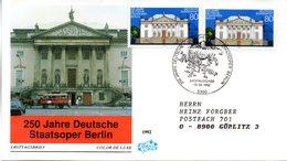 """BRD Schmuck-FDC """"250 Jahre Deutsche Staatsoper Berlin"""" Mi. 2x 1625 ESSt 13.8.1992 BONN 1 - [7] Federal Republic"""
