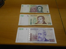 ARGENTINA   -  5 -  10  -  100   PESOS  BILLETS  LOT - Argentina