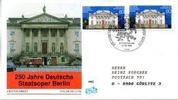 "BRD Schmuck-FDC ""250 Jahre Deutsche Staatsoper Berlin"" Mi. 2x 1625 ESSt 13.8.1992 BERLIN 12 - [7] Federal Republic"