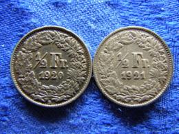 SWITZERLAND 1/2 FRANC 1920, 1921, KM23 - Suisse