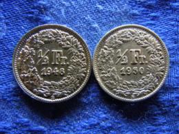 SWITZERLAND 1/2 FRANC 1948, 1950, KM23 - Suisse