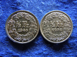SWITZERLAND 1/2 FRANC 1948, 1950, KM23 - Zwitserland
