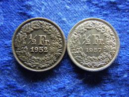 SWITZERLAND 1/2 FRANC 1952, 1957, KM23 - Suisse