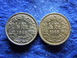 SWITZERLAND 1/2 FRANC 1963, 1965, KM23 - Zwitserland