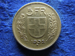 SWITZERLAND 5 FRANCS 1932, KM40 - Suisse
