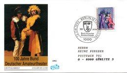 """BRD Schmuck-FDC """"100 Jahre Bund Deutscher Amateurtheater"""" Mi. 1626 ESSt 13.8.1992 BERLIN 12 - [7] Federal Republic"""