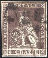 1851-52  9 CRAZIE BRUNO VIOLACEO SU GRIGIO N.8 FRESCO - FINE USED - Toscana