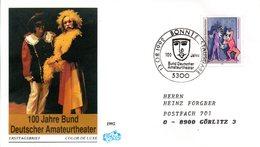 """BRD Schmuck-FDC """"100 Jahre Bund Deutscher Amateurtheater"""" Mi. 1626 ESSt 13.8.1992 BONN 1 - [7] Federal Republic"""