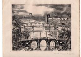 Decaris. Gravure Sur Cuivre De Decaris.Paris. Le Louvre, Ponts Sur La Seine. - Estampas & Grabados