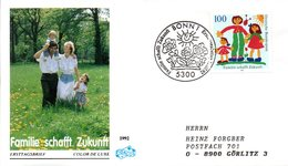 "BRD Schmuck-FDC ""Familie Schafft Zukunft"" Mi. 1621 ESSt 16.7.1992 BONN 1 - [7] Federal Republic"