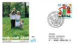 "BRD Schmuck-FDC ""Familie Schafft Zukunft"" Mi. 1621 ESSt 16.7.1992 BERLIN 12 - [7] Federal Republic"