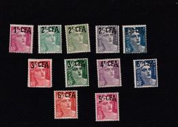 1945-51 Dept De La Réunion Surcharge CFA - Série Marianne 11 Valeurs - Y Et T N° 289 à 296 - 298A - 299 - 303 - Neufs - Unused Stamps