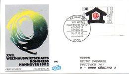 """BRD Schmuck-FDC """"XVII.Welthauswirtschaftskongreß, Hannover"""" Mi. 1620 ESSt 16.7.1992 BERLIN 12 - [7] Federal Republic"""