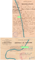 """Documents-    """"  Certificat De Libération- Chantiers De La Jeunesse """"- - Marcophilie (Lettres)"""