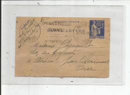 """ENTIER POSTAL    65 Cts Type PAIX Outremer  PARIS 1938 Pour  AIRION """"  OISE """" - Entiers Postaux"""