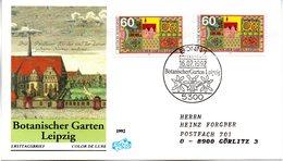 """BRD Schmuck-FDC """"Natur- Und Umweltschutz: Botanischer Garten Leipzig"""" Mi. 2x 1622 ESSt 16.7.1992 BONN 1 - [7] Federal Republic"""