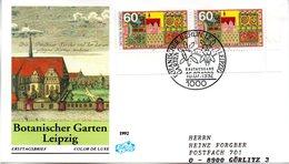 """BRD Schmuck-FDC """"Natur- Und Umweltschutz: Botanischer Garten Leipzig"""" Mi. 2x 1622 ESSt 16.7.1992 BERLIN 12 - [7] Federal Republic"""