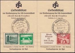 WHW-ZD Moderne Bauten W 111 + W 121 Auf Gedenkblatt Passende SSt HAMBURG 16.6.37 - Se-Tenant