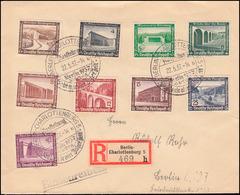 634-641 WHW Moderne Bauten 1936 Satz R-Brief SSt BERLIN-CHARLOTTENBURG 22.5.37 - Entiers Postaux