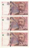 3 BILLETS  DE  200 FRANCS EIFFEL 1996 + 1997 + 1999 - 1992-2000 Dernière Gamme