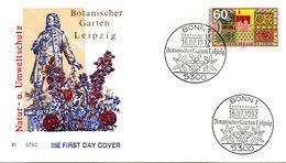 """BRD Schmuck-FDC """"Natur- Und Umweltschutz: Botanischer Garten Leipzig"""" Mi. 1622 ESSt 16.7.1992 BONN 1 - [7] Federal Republic"""