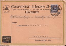 Firmenlochung HE Auf 341 Korbdeckel 20 Pf. Als EF Auf Brief DRESDEN 17.7.24 - Allemagne