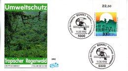 """BRD Schmuck-FDC """"Umweltschutz: Rettet Den Tropischen Regenwald"""" Mi. 1615 ESSt 11.6.1992 BONN 1 - [7] Federal Republic"""