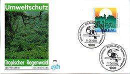"""BRD Schmuck-FDC """"Umweltschutz: Rettet Den Tropischen Regenwald"""" Mi. 1615 ESSt 11.6.1992 BERLIN 12 - [7] Federal Republic"""