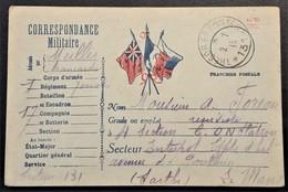 Carte De Franchise Militaire BRANCARDIER 7e Régiment De ZOUAVES Vers C.O.N. Station Le Mans Juillet 1915 - Poststempel (Briefe)