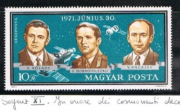UNGHERIA (HUNGARY) - SG 2611 - 1971 SOYUZ  11: IN HONOR OF THE DEAD COSMONAUTS  (FROM BF)   -  MINT** - RIF.CP - Nuovi