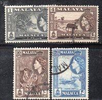 XP4646 - MALACCA MALAYSIA 1957 , 4 Valori Usati  (2380A) - Malacca