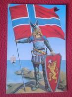 POSTAL POST CARD NORUEGA NORGE NORWAY GAMLEDAGER'S POSTKORT REY VIKINGO ? CON BANDERA FLAG Y ESCUDO VIKING KING ? VER... - Noruega