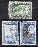 XP4355 - NEGRI SEMBILAN MALAYSIA 1957 , 3 Valori Diversi *  Linguella  (2380A) - Negri Sembilan