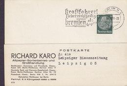 Deutsches Reich RICHARD KARO Altpapier-Sortierbetrieb Slogan 'Kraftfahrer' BERLIN 1936 Card Karte LEIPZIG BIENENZEITUNG - Covers & Documents