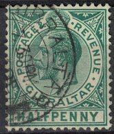 Gibraltar 1912 Oblitéré Used King Roi George V Profil à Gauche Halfpenny SU - Gibraltar