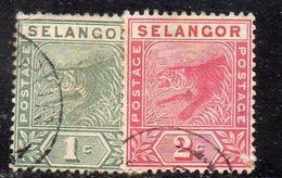XP4461 - SELANGOR MALAYSIA 1891 , Yvert N. 8+9  USATI  (2380A) - Selangor
