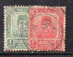 XP4478 - TRENGGANU MALAYSIA 1910 , Yvert N. 1+2  Usati   (2380A)  Fil Multi CA - Trengganu