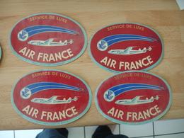 Lot De 4 Air France Service Luxe Licorne Etiquette Bagage Luggage Etiquette Hotel - Etiquettes D'hotels