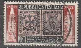 PIA - REP - 1952 - Centenario Dei Francobolli Di Modena E Parma  - (SAS 689) - Francobolli Su Francobolli