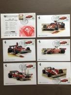 """Busta E Serie 5 Cartoline Auto F1 Ferrari 1973/1978 Annullo """"Giro Dei Castelli Medioevali"""" Vignola (MO) 9-5-1993 - Grand Prix / F1"""