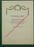 Kongo-Foor Spijskaart Z.E.P. Van Hooff - Missionaris - September 1954 - Menu - Congo - Menus