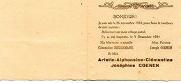 Bellecourt, Manage 1934 Baptême Famille Coenen. - Nacimiento & Bautizo