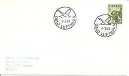 Norway 1969 Cover ,with Bird In Cancellation Oslo Lufthavn 1.3.69 - Brieven En Documenten