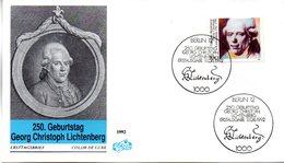 """BRD Schmuck-FDC """"250.Geburtstag Von Georg Christoph Lichenberg"""" Mi. 1616 ESSt 11.6.1992 BERLIN 12 - [7] Federal Republic"""
