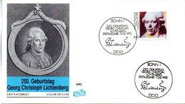 """BRD Schmuck-FDC """"250.Geburtstag Von Georg Christoph Lichenberg"""" Mi. 1616 ESSt 11.6.1992 BONN 1 - [7] Federal Republic"""